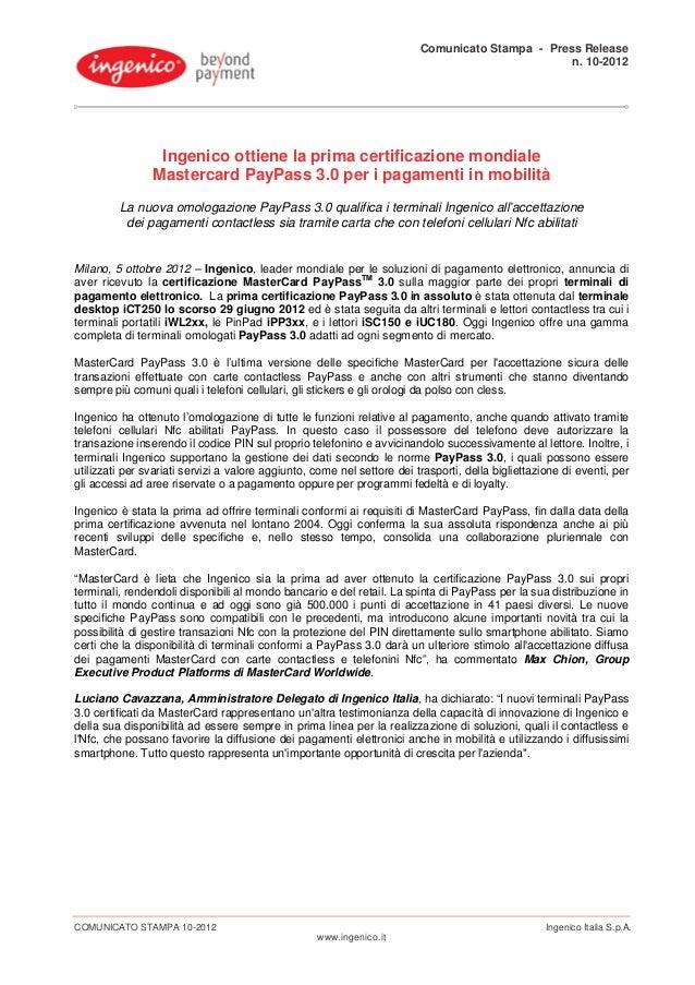 Comunicato Stampa - Press Release                                                                                         ...