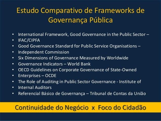 Estudo Comparativo de Frameworks de Governança Pública • International Framework, Good Governance in the Public Sector – •...