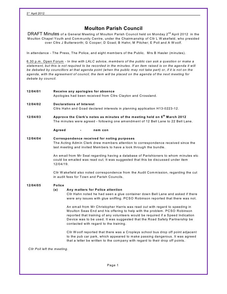 2nd April 2012                                       Moulton Parish CouncilDRAFT Minutes of a General Meeting of Moulton P...