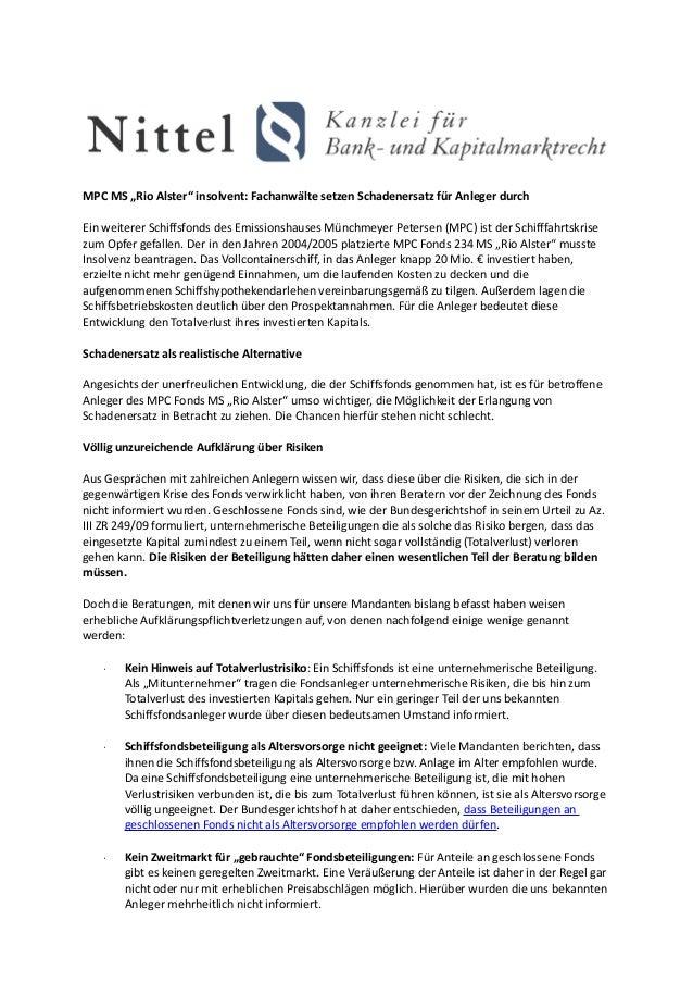 """MPC MS """"Rio Alster"""" insolvent: Fachanwälte setzen Schadenersatz für Anleger durchEin weiterer Schiffsfonds des Emissionsha..."""