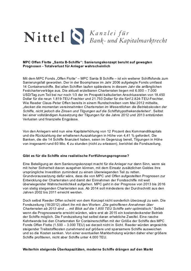 """MPC Offen Flotte """"Santa B-Schiffe"""": Sanierungskonzept beruht auf gewagtenPrognosen - Totalverlust für Anleger wahrscheinli..."""