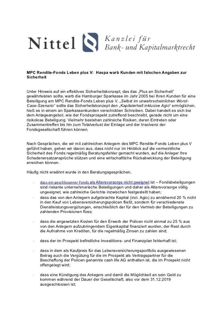 MPC Rendite-Fonds Leben plus V: Haspa warb Kunden mit falschen Angaben zurSicherheitUnter Hinweis auf ein effektives Siche...