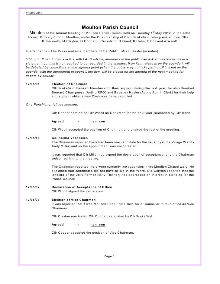 1st May 2012                                      Moulton Parish Council  Minutes of the Annual Meeting of Moulton Parish ...