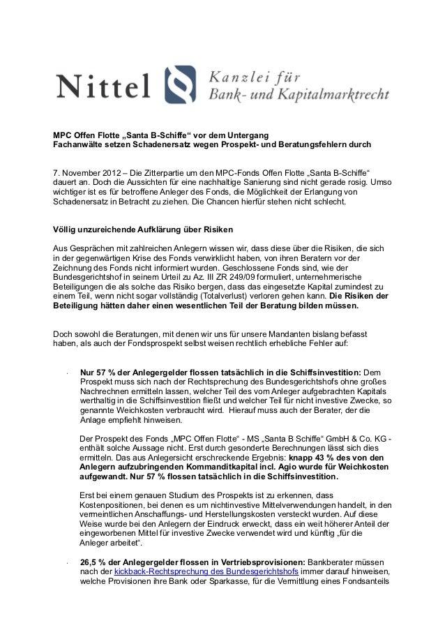 """MPC Offen Flotte """"Santa B-Schiffe"""" vor dem UntergangFachanwälte setzen Schadenersatz wegen Prospekt- und Beratungsfehlern ..."""
