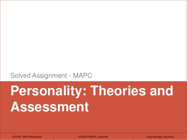 Personality theories and assessment for ignou students fandeluxe Gallery