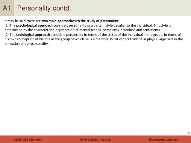 Personality theories and assessment for ignou students 6 fandeluxe Images