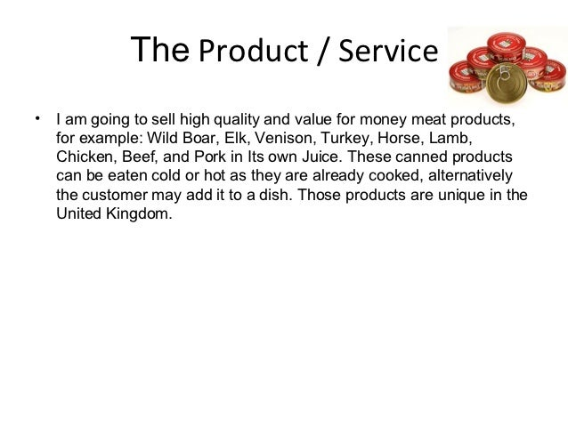 product service description business plan