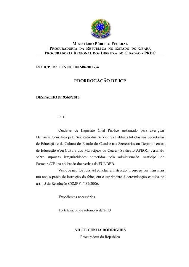 MINISTÉRIO PÚBLICO FEDERAL PROCURADORIA DA REPÚBLICA NO ESTADO DO CEARÁ PROCURADORIA REGIONAL DOS DIREITOS DO CIDADÃO - PR...