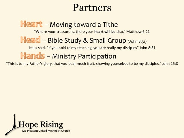 """Partners – Moving toward a Tithe """"Where your treasure is, there your heart will be also."""" Matthew 6:21 – Bible Study & Sma..."""