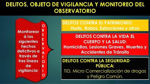 DELITOS, OBJETO DE VIGILANCIA Y MONITOREO DEL OBSERVATORIO DELITOS CONTRA EL PATRIMONIO: Hurto, Robos, Extorciones y otros...