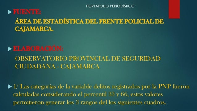  FUENTE: ÁREA DE ESTADÍSTICA DEL FRENTE POLICIAL DE CAJAMARCA.  ELABORACIÓN: OBSERVATORIO PROVINCIAL DE SEGURIDAD CIUDAD...