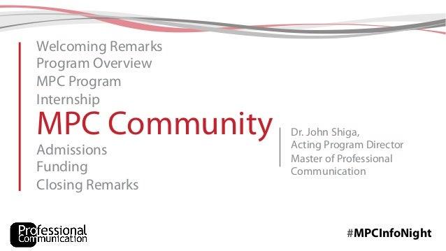 MPC Information Night - Slides from presentation