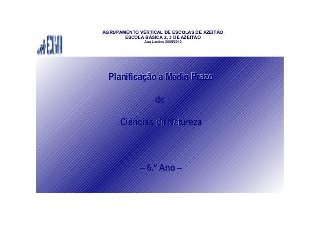 AGRUPAMENTO VERTICAL DE ESCOLAS DE AZEITÃO ESCOLA BÁSICA 2, 3 DE AZEITÃO Ano Lectivo 2009/2010 Planificação a Médio PrazoP...