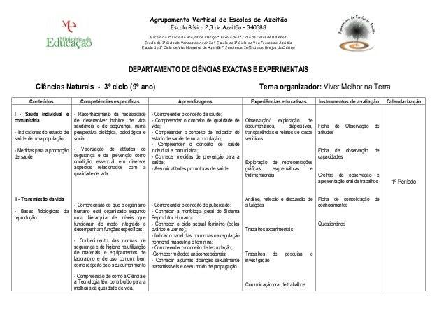 DEPARTAMENTO DE CIÊNCIAS EXACTAS E EXPERIMENTAIS Ciências Naturais - 3º ciclo (9º ano) Tema organizador: Viver Melhor na T...