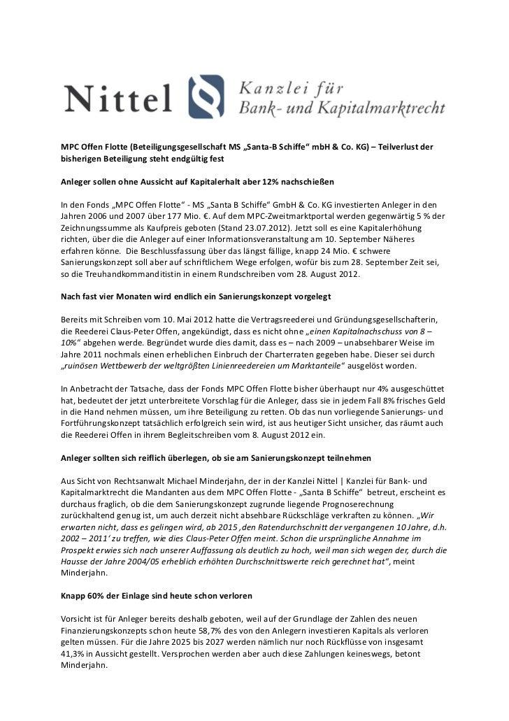 """MPC Offen Flotte (Beteiligungsgesellschaft MS """"Santa-B Schiffe"""" mbH & Co. KG) – Teilverlust derbisherigen Beteiligung steh..."""