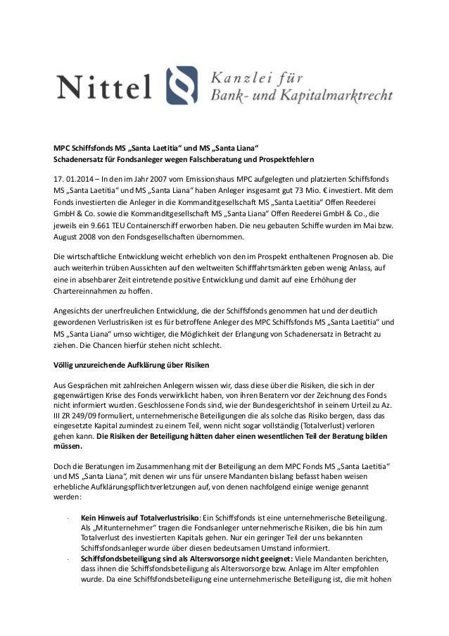 """MPC Schiffsfonds MS """"Santa Laetitia"""" und MS """"Santa Liana"""" Schadenersatz für Fondsanleger wegen Falschberatung und Prospekt..."""