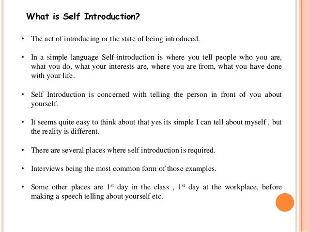 Self introduction and peer group – Self Introduction Speech Examples