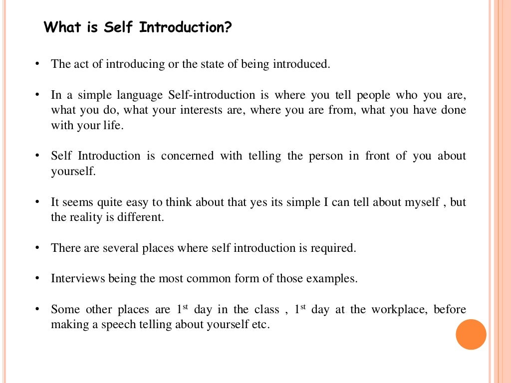 self introduction and goals Podcast: play in new window | download well hello if you're here, reading this, then i'm hoping it's because you've just read the first chapter of smart talk (how to take the hell out of hello) and you are interested in putting into practice your self-introduction skills.