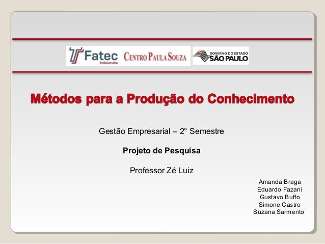 Gestão Empresarial – 2° Semestre Projeto de Pesquisa Professor Zé Luiz Amanda Braga Eduardo Fazani Gustavo Buffo Simone Ca...