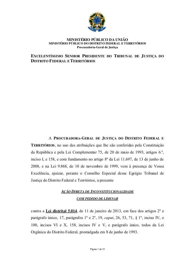 MINISTÉRIO PÚBLICO DA UNIÃO           MINISTÉRIO PÚBLICO DO DISTRITO FEDERAL E TERRITÓRIOS                          Procur...