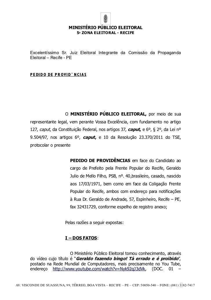 MINISTÉRIO PÚBLICO ELEITORAL                                    5ª ZONA ELEITORAL - RECIFE        Excelentíssimo Sr. Juiz ...