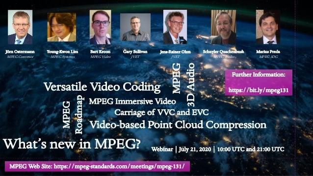What's new in MPEG? Webinar | July 21, 2020 | 10:00 UTC and 21:00 UTC Jörn Ostermann MPEG Convenor Versatile Video Coding ...