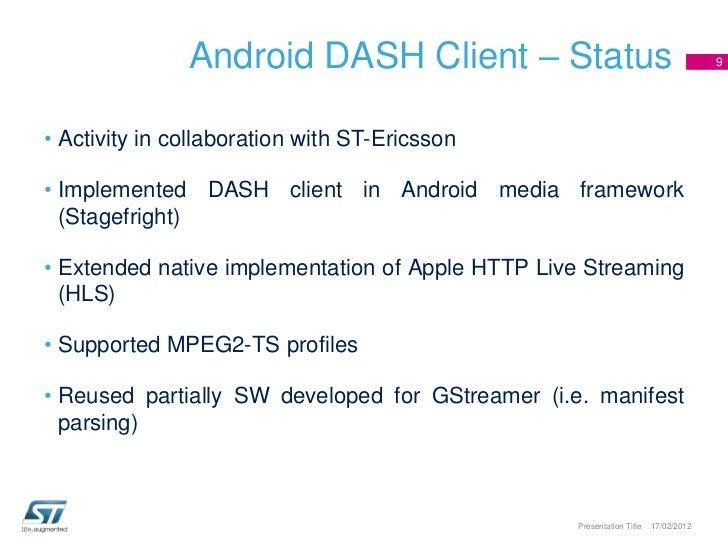 MPEG DASH Developments in ST
