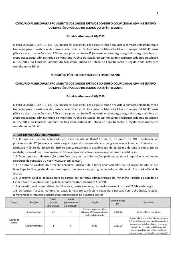 1CONCURSO PÚBLICO PARA PROVIMENTO DOS CARGOS EFETIVOS DO GRUPO OCUPACIONAL ADMINISTRATIVODO MINISTÉRIO PÚBLICO DO ESTADO D...