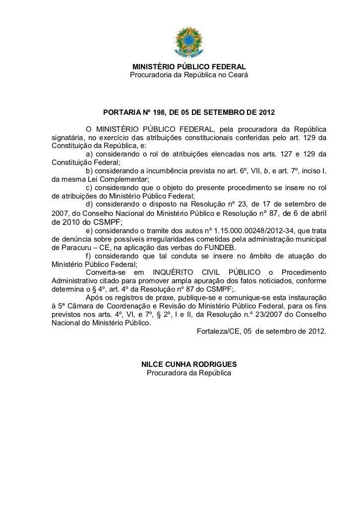 MINISTÉRIO PÚBLICO FEDERAL                         Procuradoria da República no Ceará                PORTARIA Nº 198, DE 0...