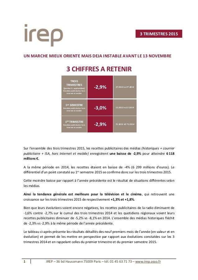 1 IREP – 36 bd Haussmann 75009 Paris – tél. 01 45 63 71 73 – www.irep.asso.fr UN MARCHE MIEUX ORIENTE MAIS DEJA INSTABLE A...