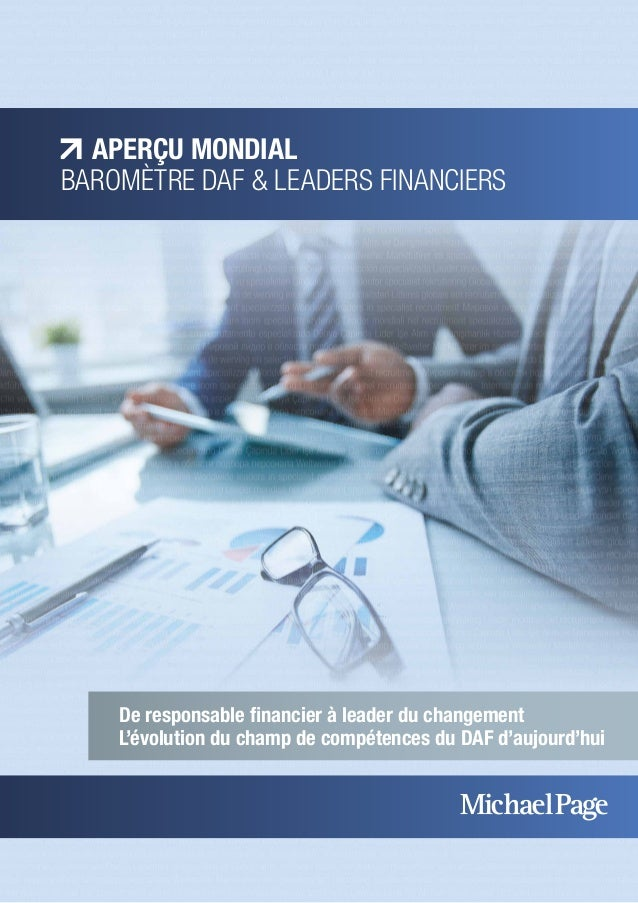 APERÇU MONDIAL  BAROMÈTRE DAF & LEADERS FINANCIERS  De responsable financier à leader du changement  L'évolution du champ ...