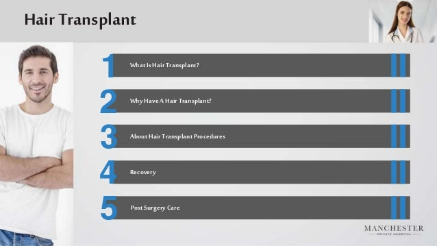 1 2 3 4 5 WhatIs HairTransplant? Why HaveAHairTransplant? AboutHairTransplantProcedures PostSurgeryCare Recovery Hair Tran...