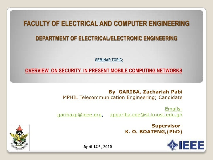 FACULTY OF ELECTRICAL AND COMPUTER ENGINEERINGDEPARTMENT OF ELECTRICAL/ELECTRONIC ENGINEERING<br />SEMINAR TOPIC;<br />OVE...