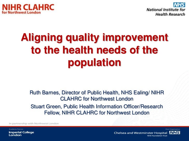 Aligning quality improvement  to the health needs of the          population Ruth Barnes, Director of Public Health, NHS E...