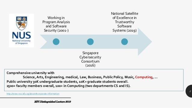 MPI Distinguished Lecture 2019 Working in Program Analysis and Software Security (2001-) Singapore Cybersecurity Consortiu...