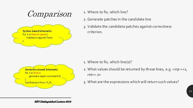 Comparison 1. Where to fix, which line? 2. Generate patches in the candidate line 3. Validate the candidate patches agains...