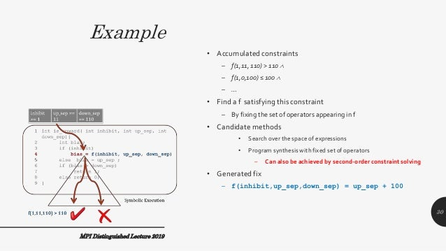 Example MPI Distinguished Lecture 2019 • Accumulated constraints – f(1,11, 110) > 110  – f(1,0,100) ≤ 100  – … • Find a ...