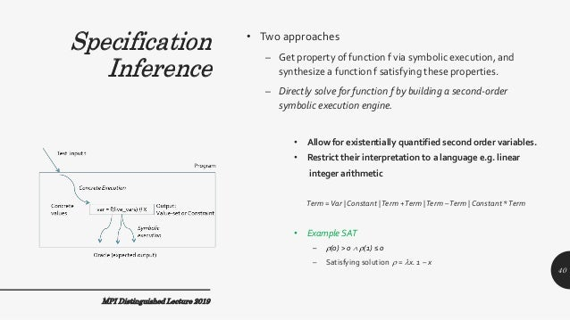 Specification Inference • Two approaches – Get property of function f via symbolic execution, and synthesize a function f ...