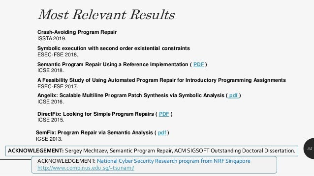 Most Relevant Results MPI Distinguished Lecture 2019 Semantic Program Repair Using a Reference Implementation ( PDF ) ICSE...