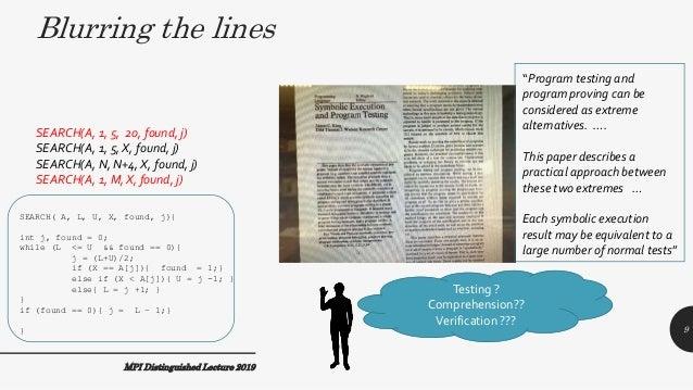 MPI Distinguished Lecture 2019 SEARCH( A, L, U, X, found, j){ int j, found = 0; while (L <= U && found == 0){ j = (L+U)/2;...