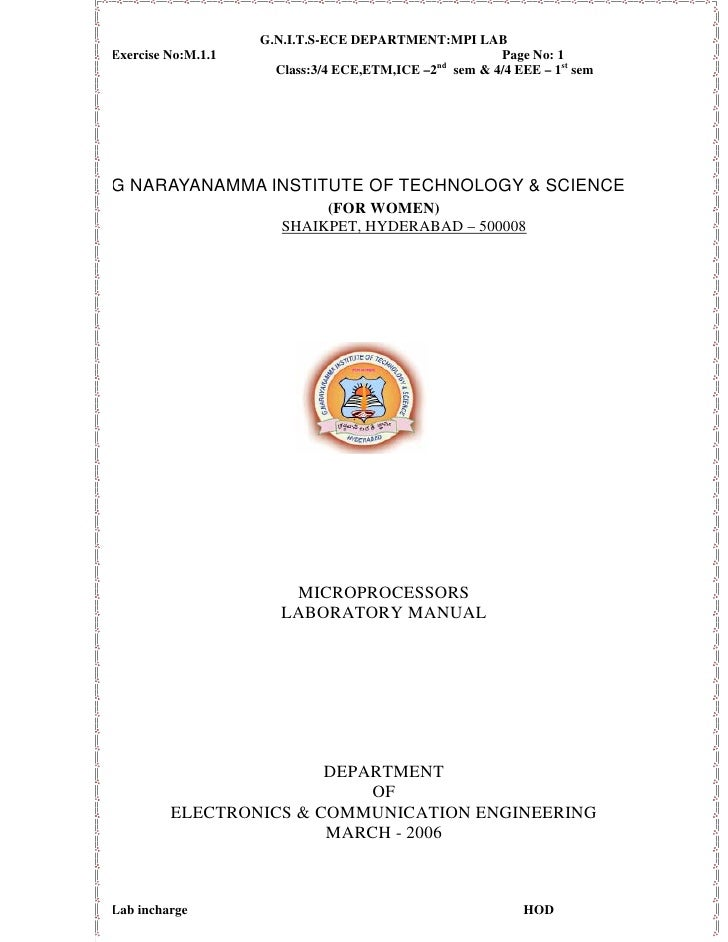 G.N.I.T.S-ECE DEPARTMENT:MPI LAB Exercise No:M.1.1                                       Page No: 1                       ...