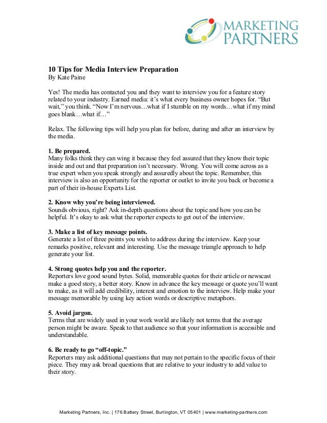 10 Tips For Media Interview Preparation. Marketing Partners, Inc. | 176  Battery Street