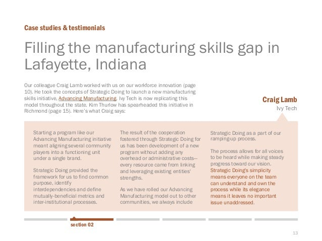 13  Starting a program like our Advancing Manufacturing initiative meant aligning several community players into a functio...