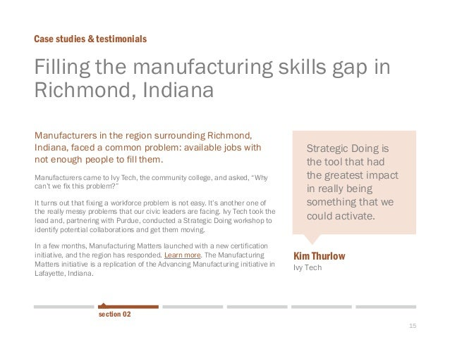 15  Filling the manufacturing skills gap in Richmond, Indiana  Case studies & testimonials  section 02  With the NASA shut...