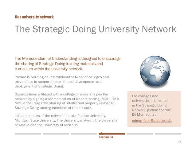 21  The Strategic Doing University Network  Our university network  section 04  The Memorandum of Understanding is designe...