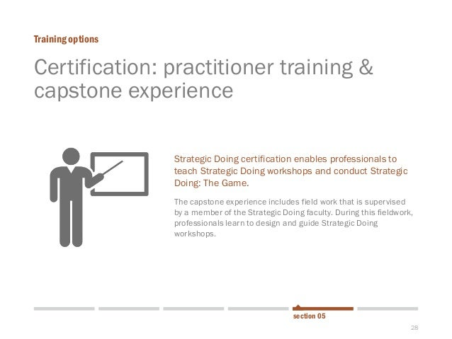 28  Certification: practitioner training & capstone experience  Training options  section 05  Strategic Doing certificatio...