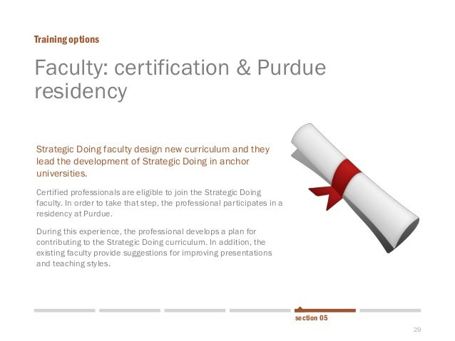 29  Faculty: certification & Purdue residency  Training options  section 05  Strategic Doing faculty design new curriculum...
