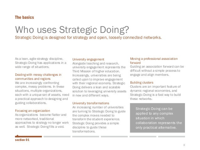 8  As a lean, agile strategy discipline, Strategic Doing has applications in a wide range of situations.  Dealing with mes...
