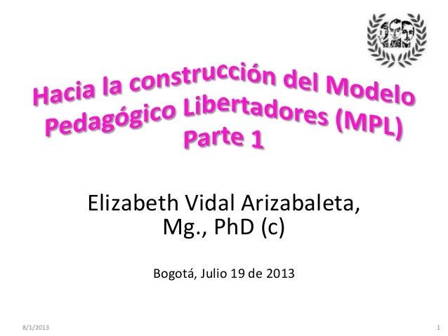 8/1/2013 1 Elizabeth Vidal Arizabaleta, Mg., PhD (c) Bogotá, Julio 19 de 2013