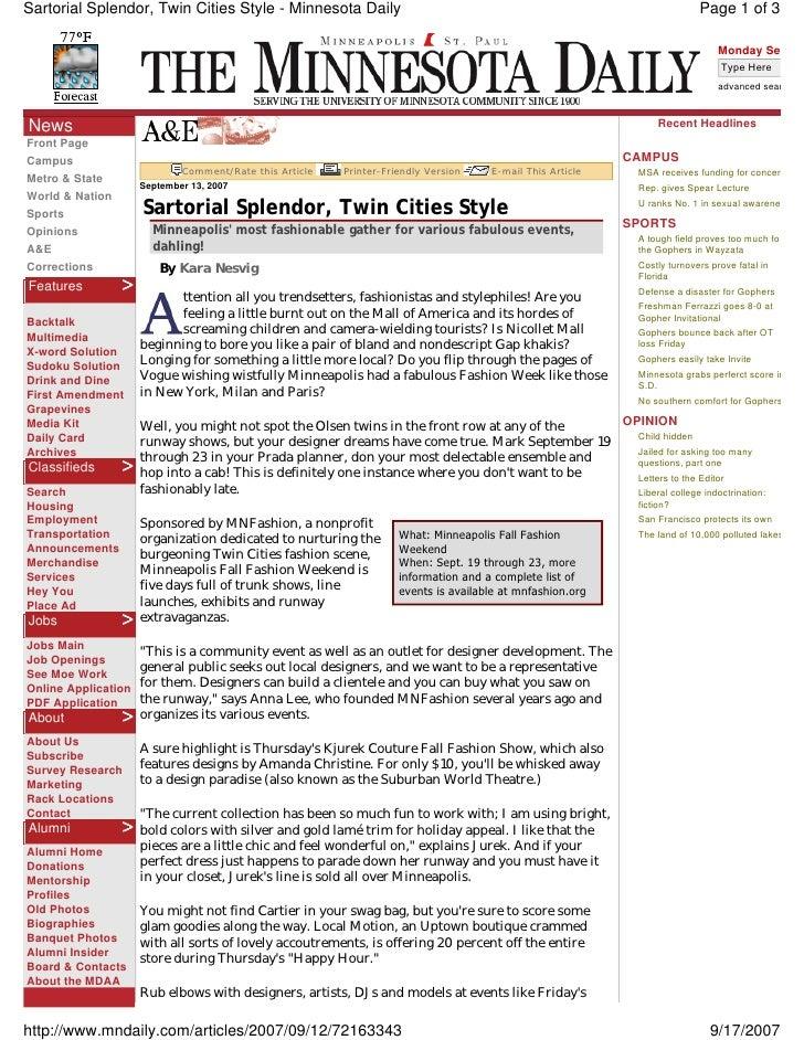 Sartorial Splendor, Twin Cities Style - Minnesota Daily                                                                  P...
